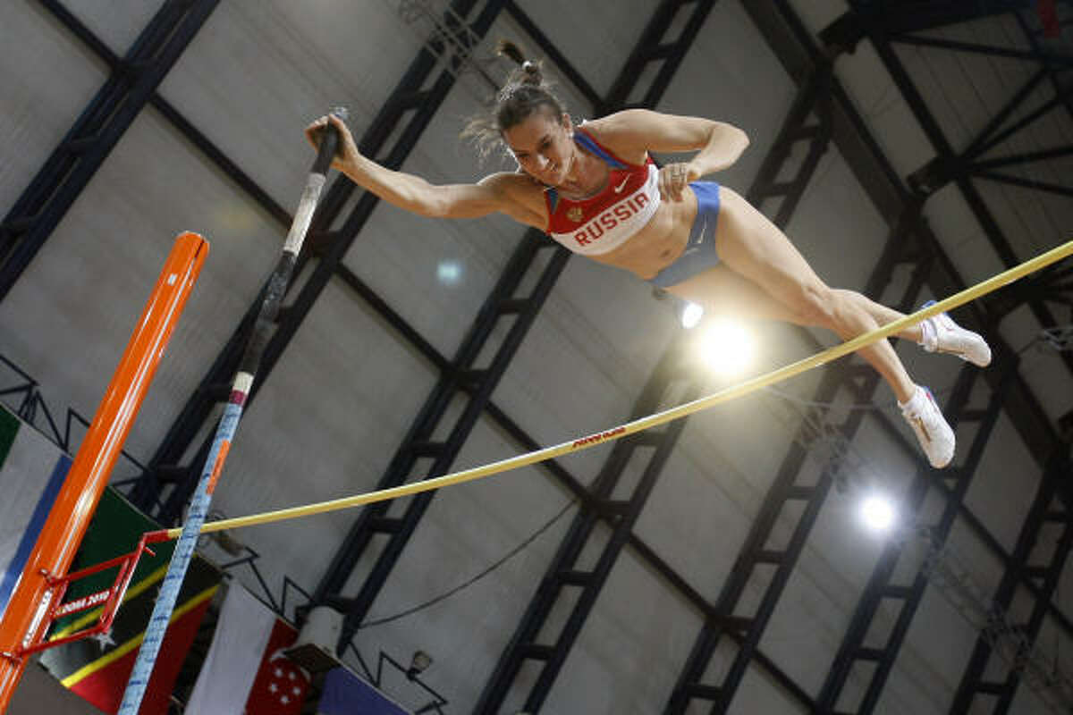 Russia's Yelena Isinbayeva competes in the women's pole vault final.