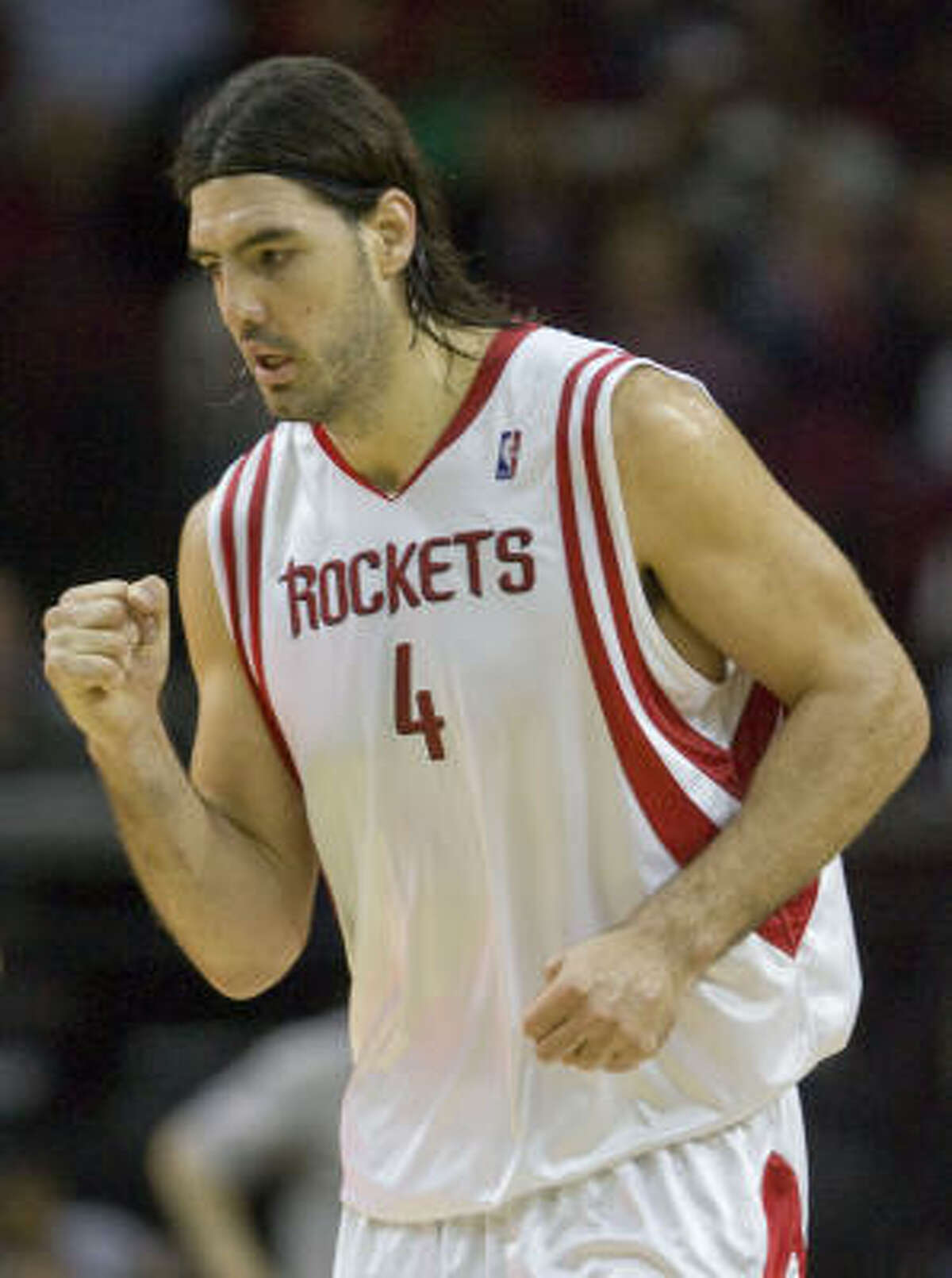 Rockets forward Luis Scola reacts after scoring two of his career-high 44 points.
