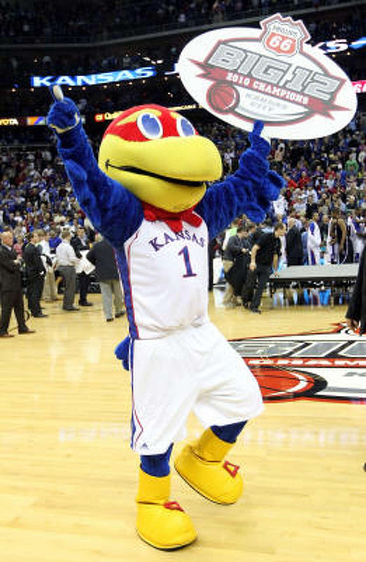 The Kansas Jayhawk mascot celebrates Kansas' seventh Big 12 championship.