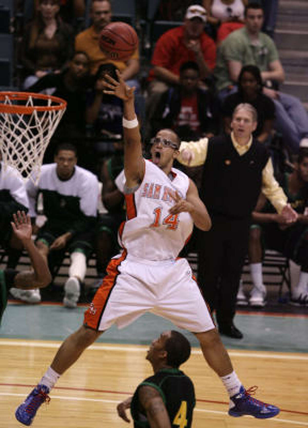Sam Houston State forward Gilberto Clavell takes an open jumper during the first half.