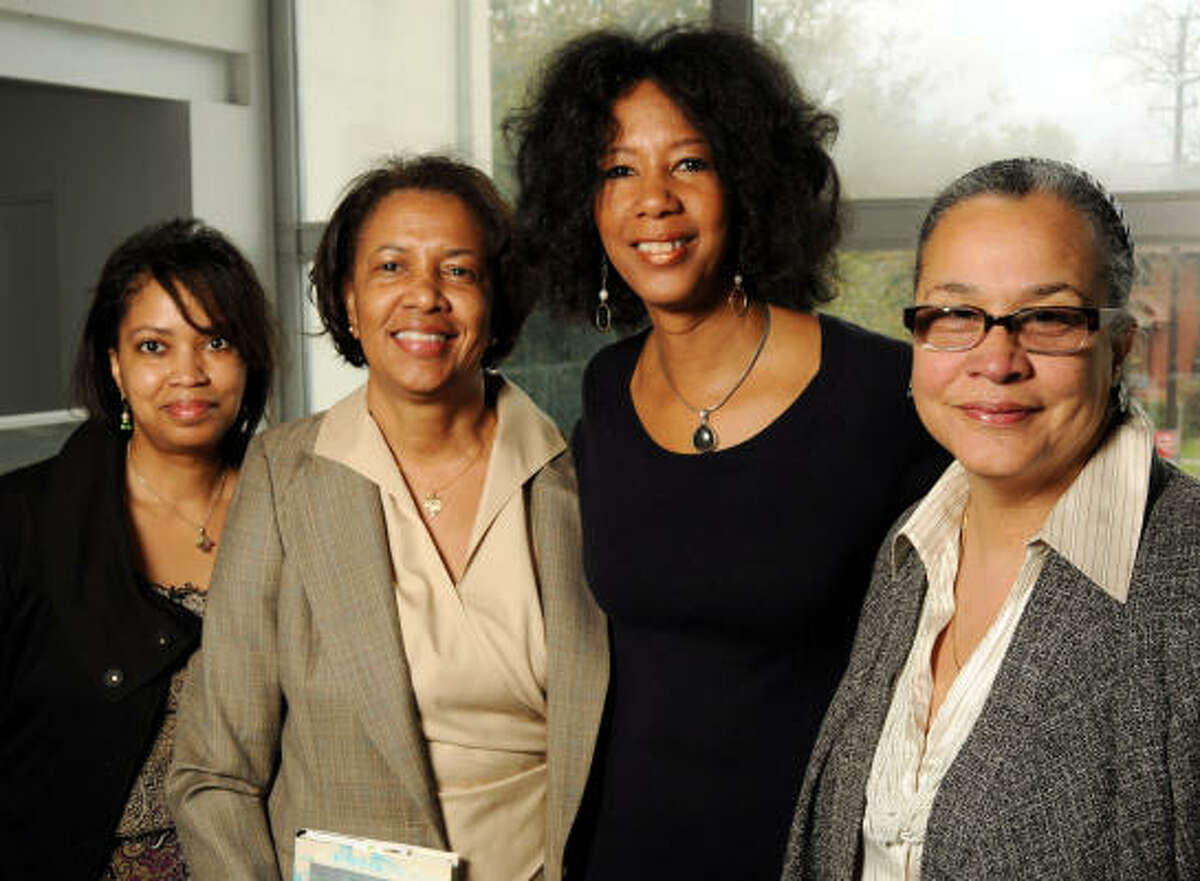 From left: Marsha Penn, Robbie Lee, Cheryl Harper and Michelle Barnes at A Spring Sonata, a luncheon at the Houston Museum of African American Culture.