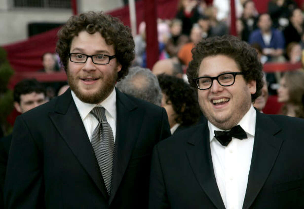 Seth Rogan & Jonah Hill The chubby, curly-haired funny guys have appeared together in films by Judd Apatow (who's also Jewish!): Knocked Up, Superbad, Funny People. Fun facts: Rogan first performed stand-up at a Jewish socialist summer camp in Canada, and Hill's full name is actually Jonah Hill Feldstein.