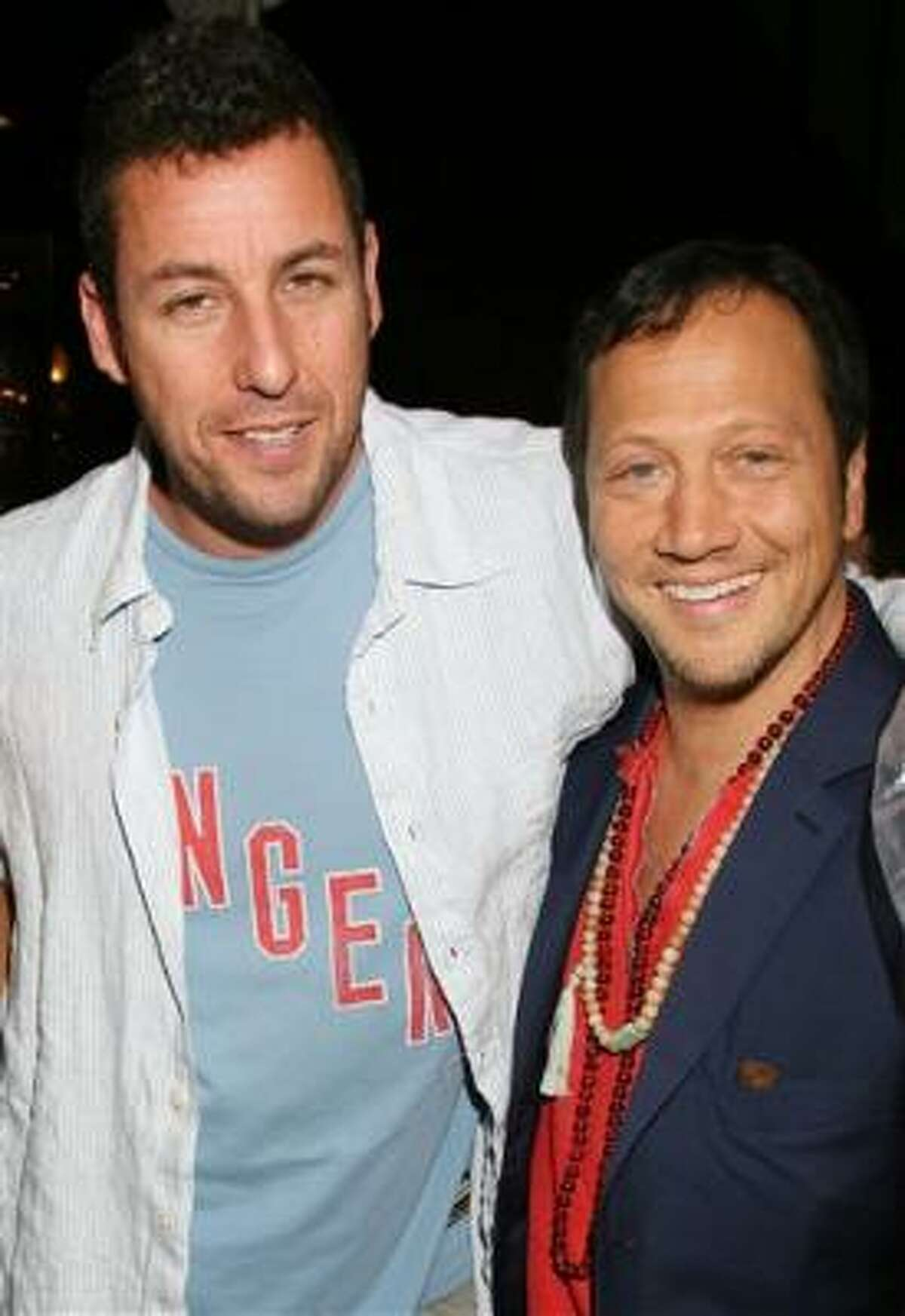 Adam Sandler & Rob Schneider Schneider appears in nearly every movie of Sandler's, from The Waterboy, Big Daddy, and Mr. Deeds, up to I Now Pronounce You Chuck and Larry. Even beyond the big screen, the two are tight and have been spotted at basketball games, restaurants and parties together.