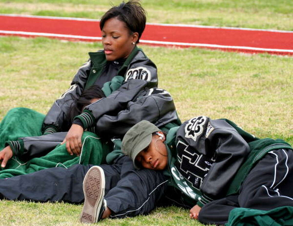 At the meets, any place can be a good spot for sleeping.