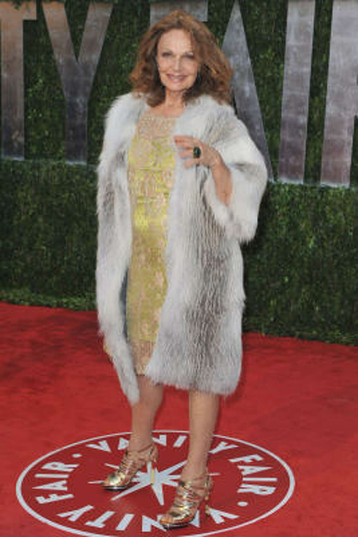 PETA'S AFTER HER NOW: Diane Von Furstenberg better watch out for red paint while she's wearing that fur coat.