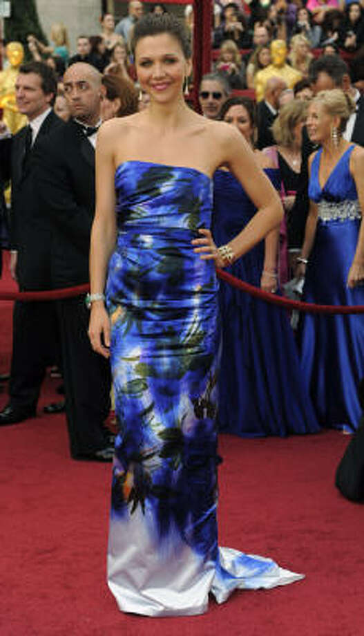 WATERCOLORS: Maggie Gyllenhaal gets a thumbs down on her water color print dress. Photo: Chris Pizzello, AP