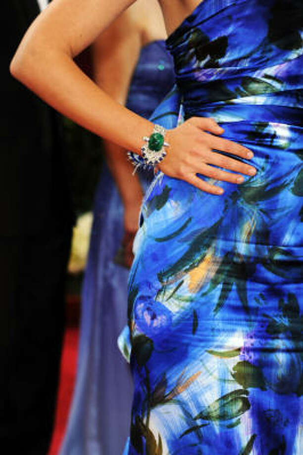 Her emerald bracelet gets a thumbs up. Photo: Frazer Harrison, Getty Images