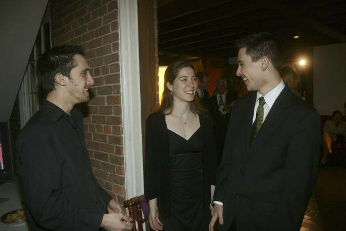Da Camera Young Artists Carlos Cordeiro, Heather Zinninger and David Huntsman at the Da Camera gala.