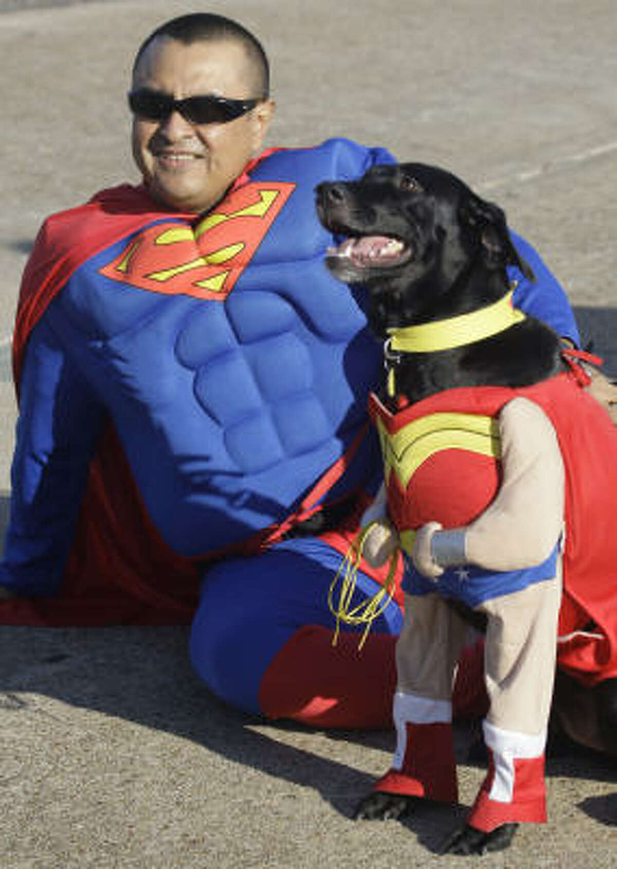 Alvaro Munoz of Spring with Luna before start of the 2010 Houston SPCA Mutt Strut and Runway Race at George Bush Intercontinental Airport.