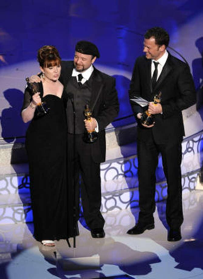 "Mindy Hall, Barney Burman and Joel Harlow, ""Star Trek"" Best Achievement in Makeup Photo: Mark J. Terrill, AP"