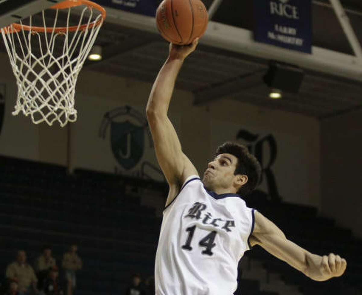 Rice forward Arsalan Kazemi provided some high-flying action in Saturday's game against Central Florida, but the Owls shot poorly en route to a 66-59 loss at Tudor Fieldhouse.
