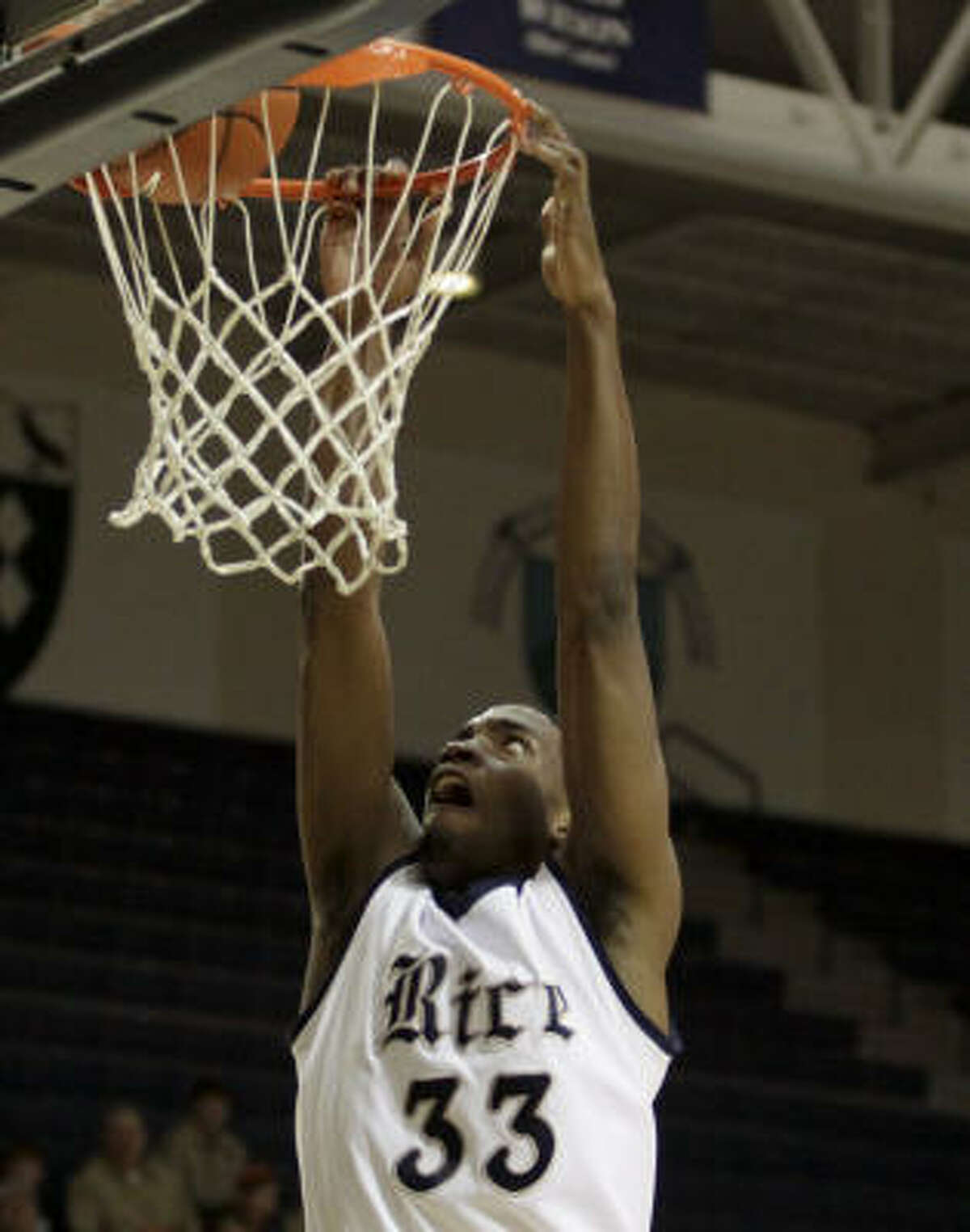 Rice guard Lawrence Ghoram finished with 13 points.