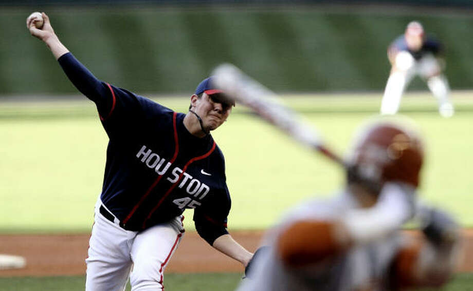 UH righthander Michael Goodnight held No. 6 Texas to two hits and struck out nine batters in seven innings to lead the Cougars to a 1-0 win Saturday afternoon at Minute Maid Park. Photo: Bob Levey, For The Chronicle