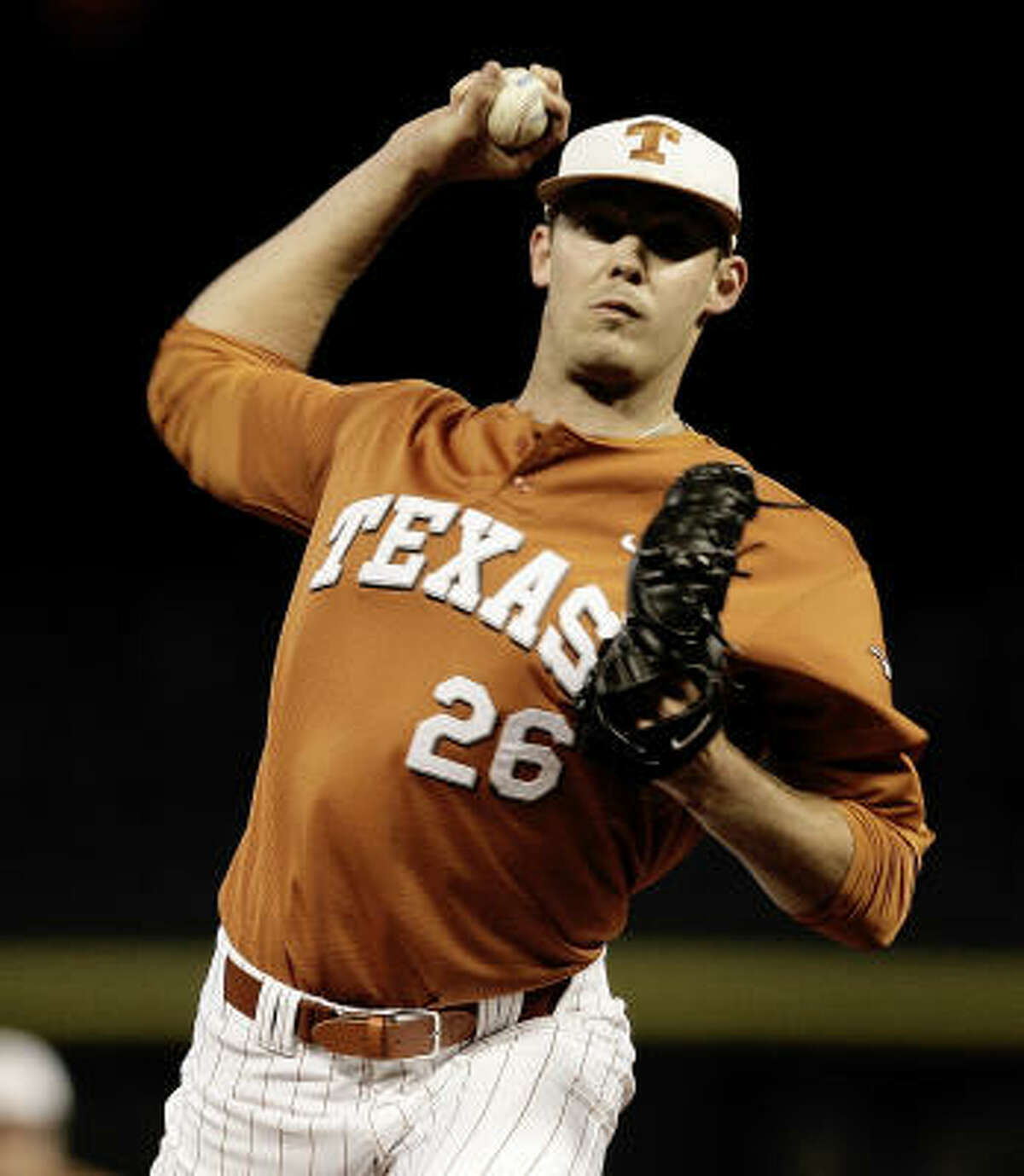 Texas pitcher Taylor Jungmann allowed only one run and struck out eight batters over 7 2/3 innings in Friday's 2-1 win over Rice in the Houston College Classic at Minute Maid Park. He received a no-decision.