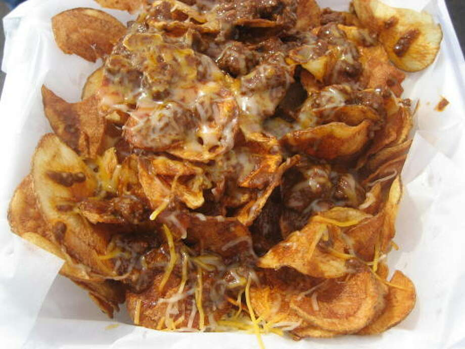 Hand cooked potato chips loaded with chopped beef and cheese