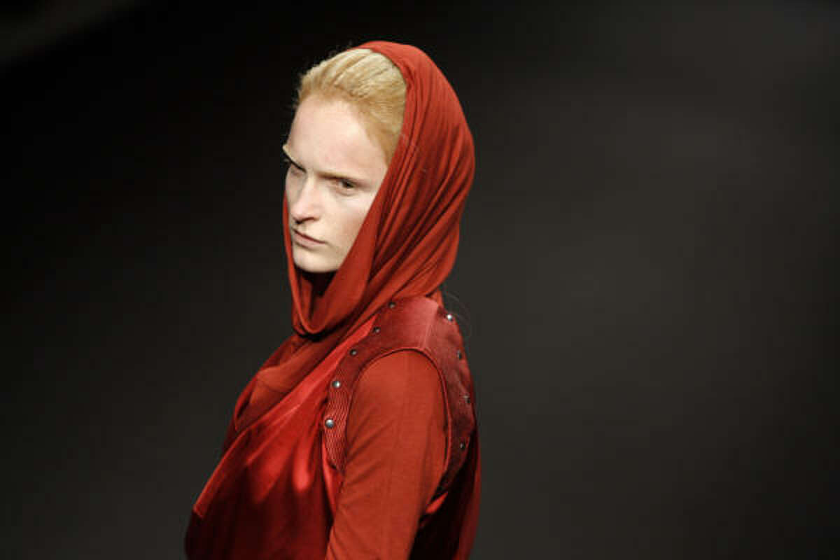 A model wears a creation by Belgian fashion designer AF Vandevorst as part of his Fall-Winter 2010-2011 ready-to-wear fashion collection.