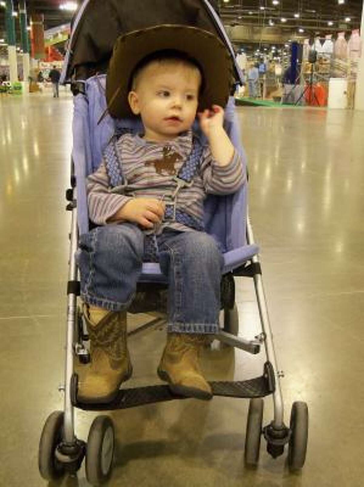 Nineteen-month-old Hudson McNab of Houston is making his second appearance at the Houston Livestock Show and Rodeo.