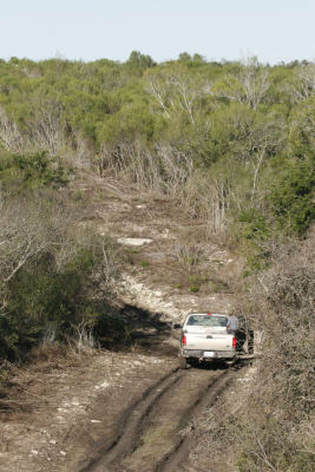 Ocelot researchers stop their truck to check a live-catch trap set in the near-impenetrable Tamaulipan thornscrub. Photo: Shannon Tompkins, Chronicle