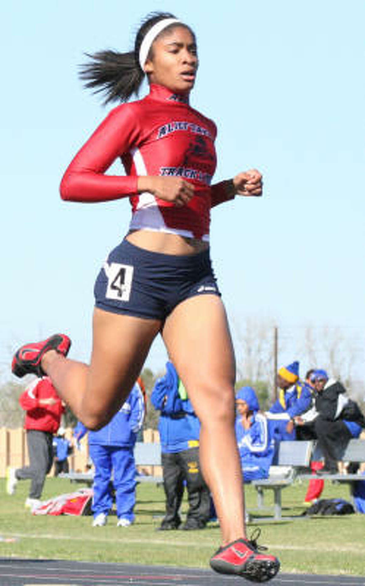 Alief Taylor's Morgan Presley was a triple-gold wnner in the 400-meter, triple jump and long jump.