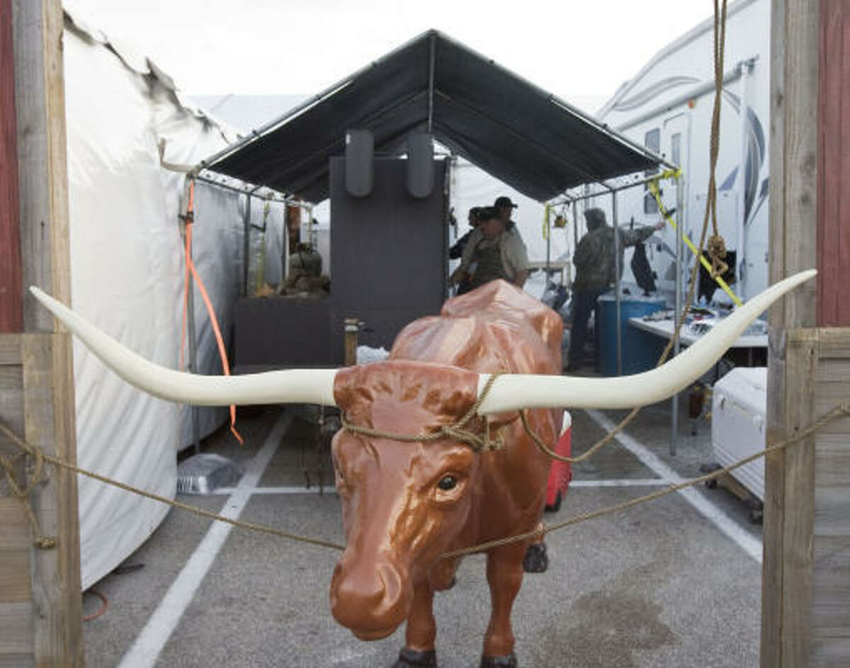 A longhorn cattle replica at the Houston Livestock Show and Rodeo