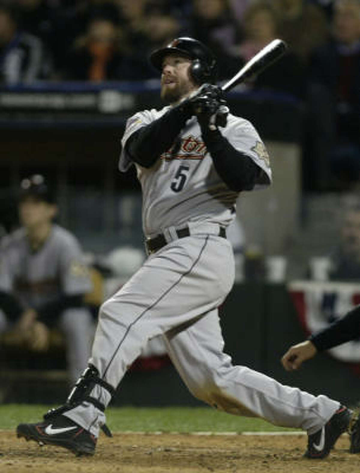 Bothered by a degenerative right shoulder, Jeff Bagwell was used as the DH in Game 1. He went 0 for 2 in his World Series debut.