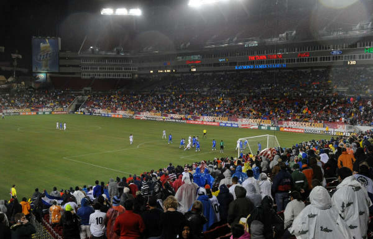 On a rainy night at Raymond James Stadium in Tampa, Fla., fans watch the U.S. national team defeat El Salvador.