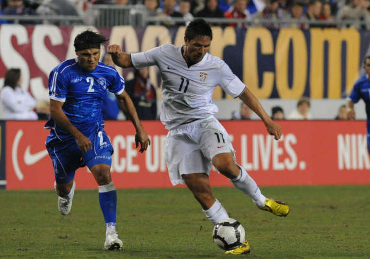 Brian Ching drives upfield against El Salvador. Ching came on as a second-half sub and had a goal and an assist.
