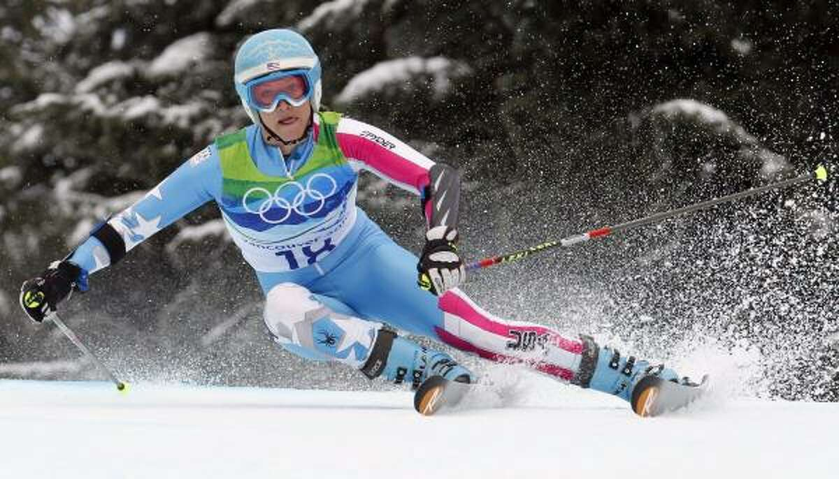 Julia Mancuso speeds down the course during the second run.