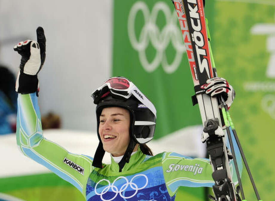 Slovenia's Tina Maze, the silver medalist, celebrates after the race. Photo: FABRICE COFFRINI, AFP/Getty Images