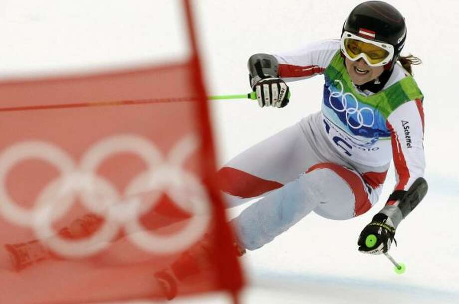 Austria's Elisabeth Goergl races down the course on her way to clinching the bronze medal. Photo: Charlie Krupa, AP