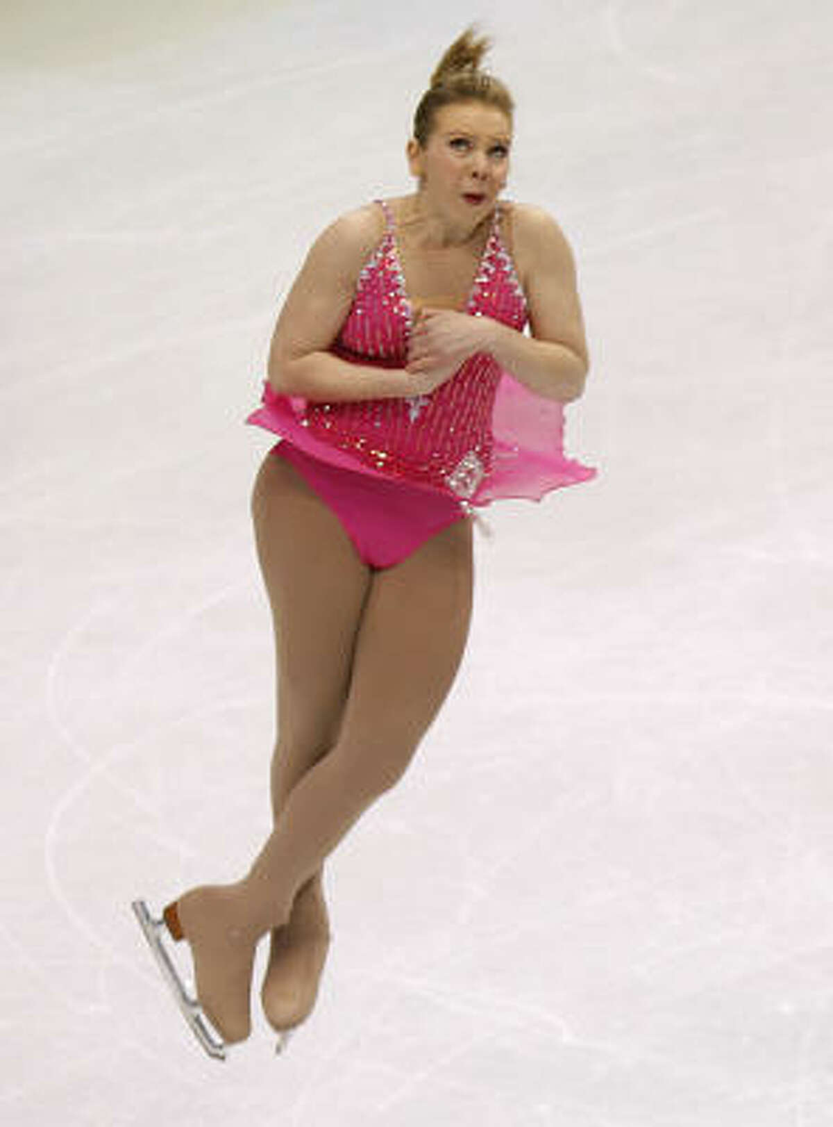 Rachael Flatt of the United States skates in the short program of the women's figure skating competition.