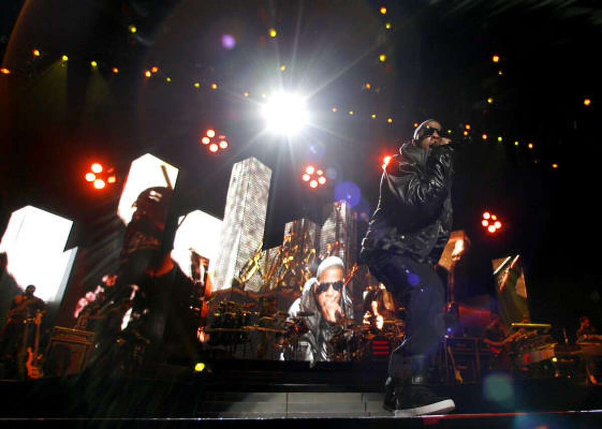 Jay Z performs at the Toyota Center on Monday, Feb. 22.