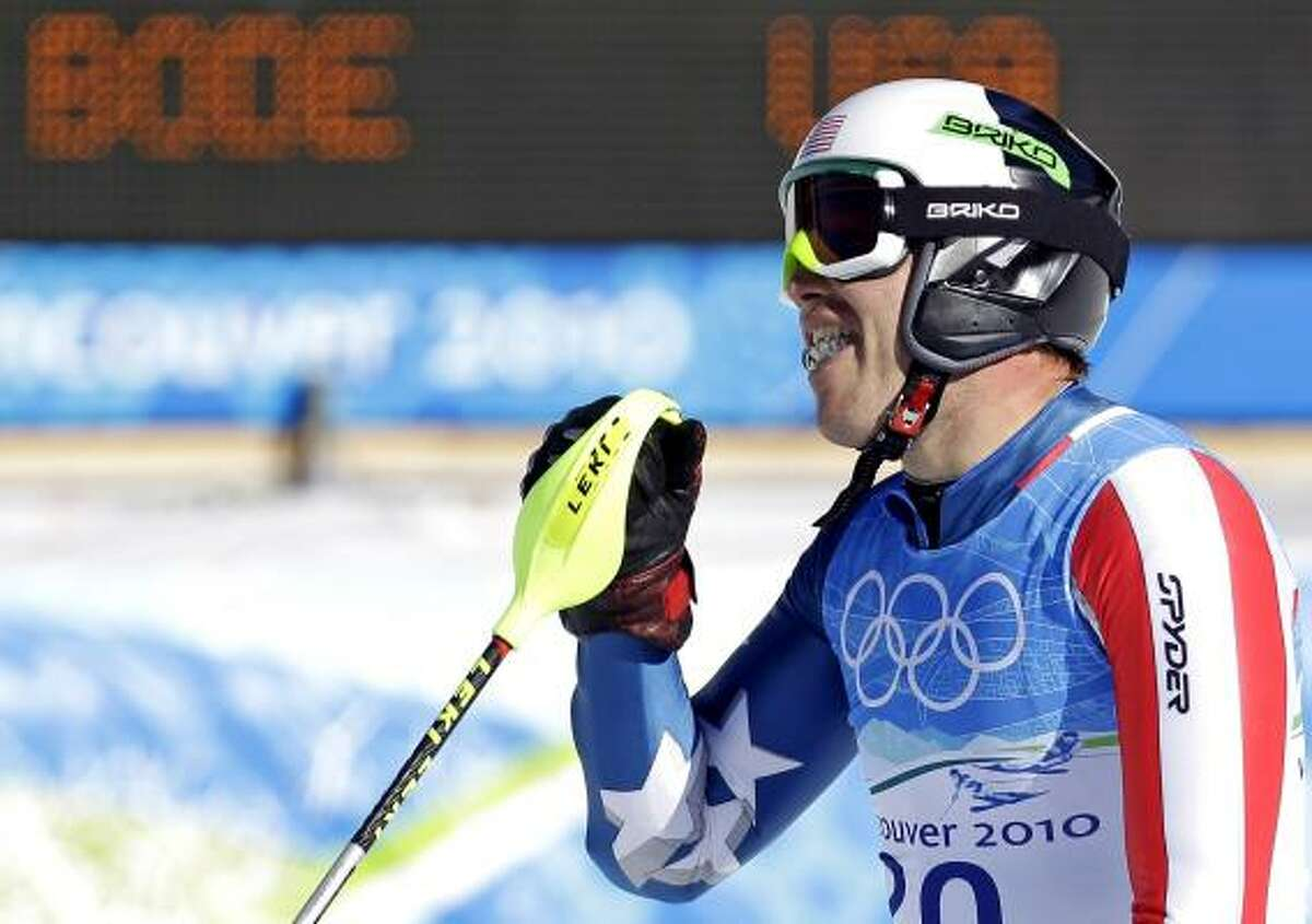 Bode Miller reacts after winning his first gold medal to go with four other medals in his career.