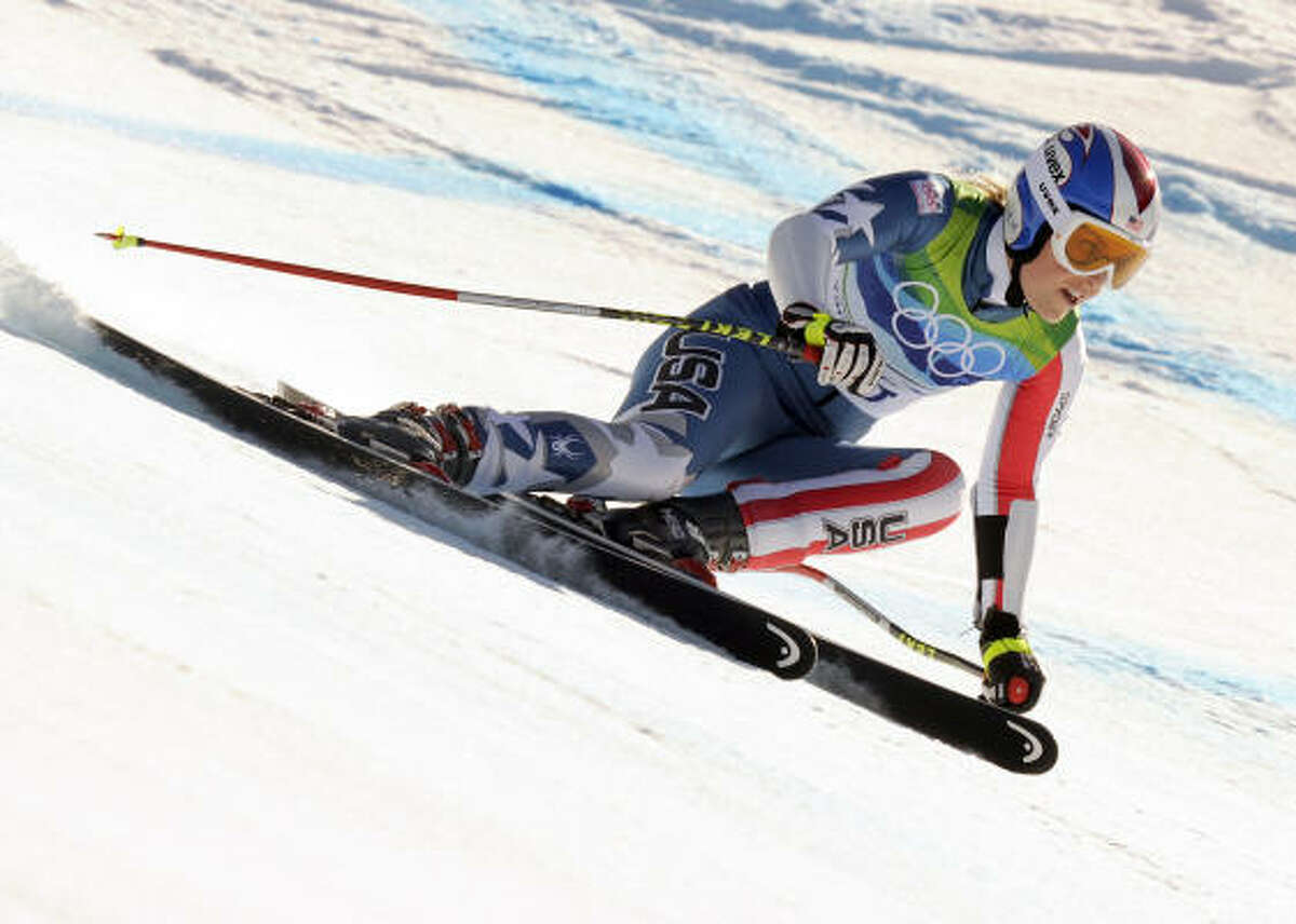American Lindsey Vonn takes a curve during her run down Whistler, which was good for a bronze medal.