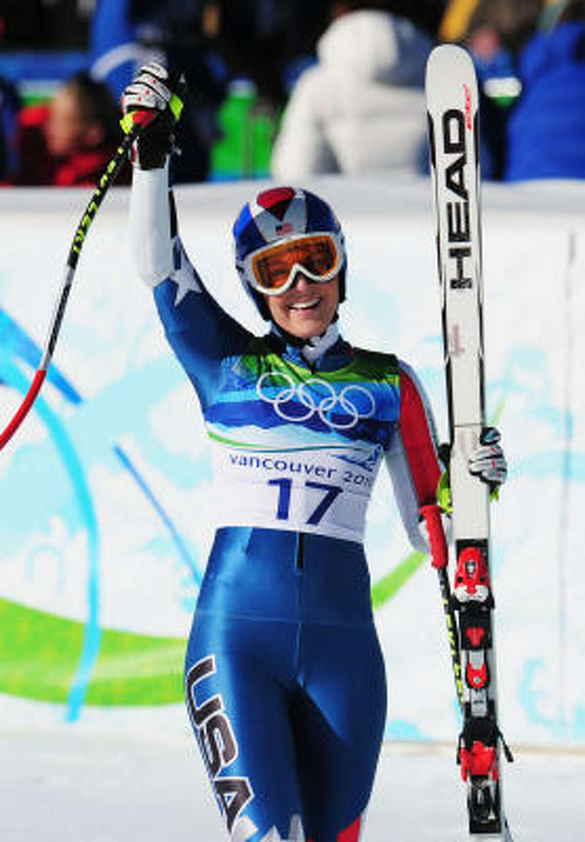 Lindsey Vonn of the United States reacts after completing a run that put her in the lead, which would not last.