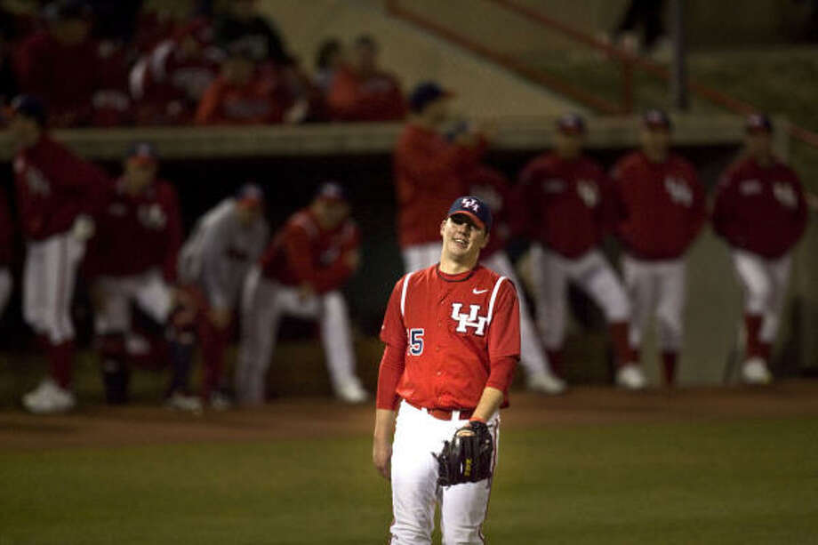 UH pitcher Michael Goodnight allowed two runs on only one hit in 4 2/3 innings in Friday's 6-0 season-opening loss to Texas State at Cougar Field. Photo: James Nielsen, Chronicle