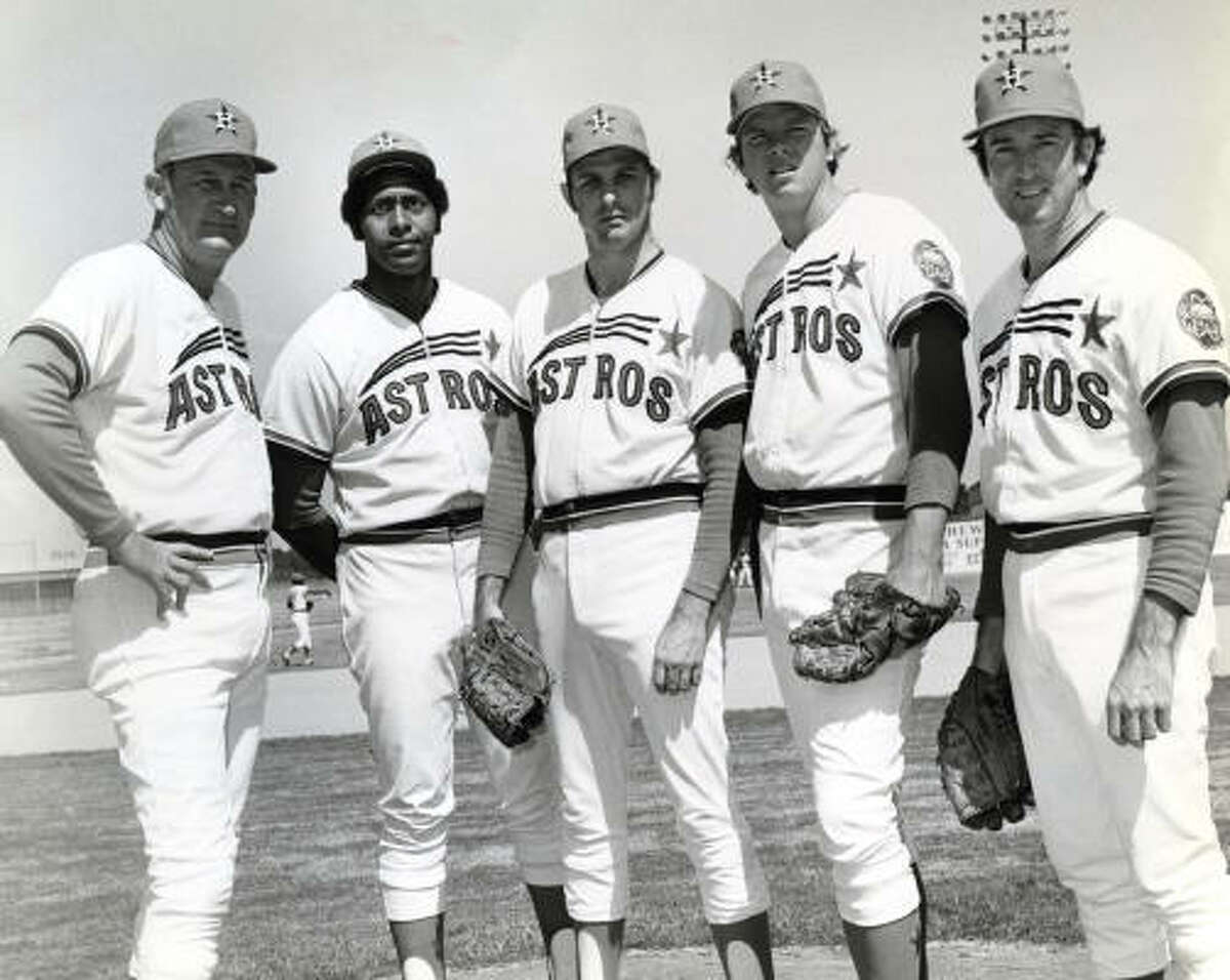 The Astros wore this variation of their shooting star jersey from 1971-74.