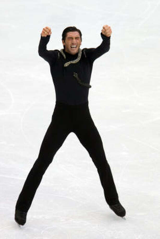 Evan Lysacek of the United States reacts at the end of his long program. Photo: Smiley N. Pool, Chronicle Olympic Bureau