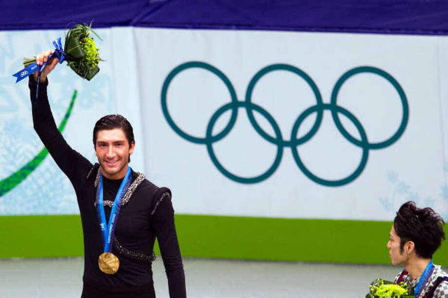 Evan Lysacek stands on the podium after winning the gold. Photo: Smiley N. Pool, Chronicle Olympic Bureau