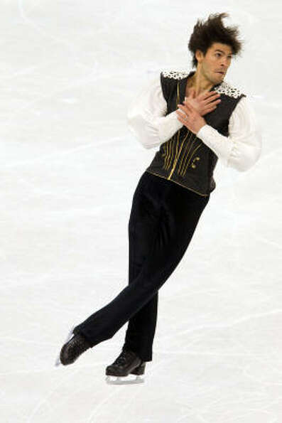 Stephane Lambiel of Switzerland performs his long program.