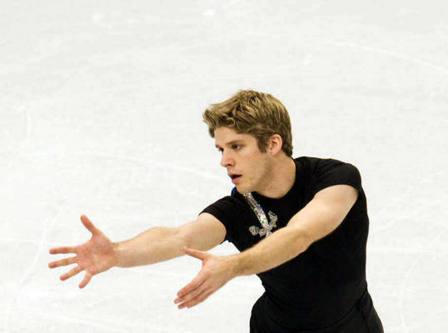 Vaughn Chipeur of Canada gesticulates during his short program. Photo: Smiley N. Pool, Chronicle Olympic Bureau
