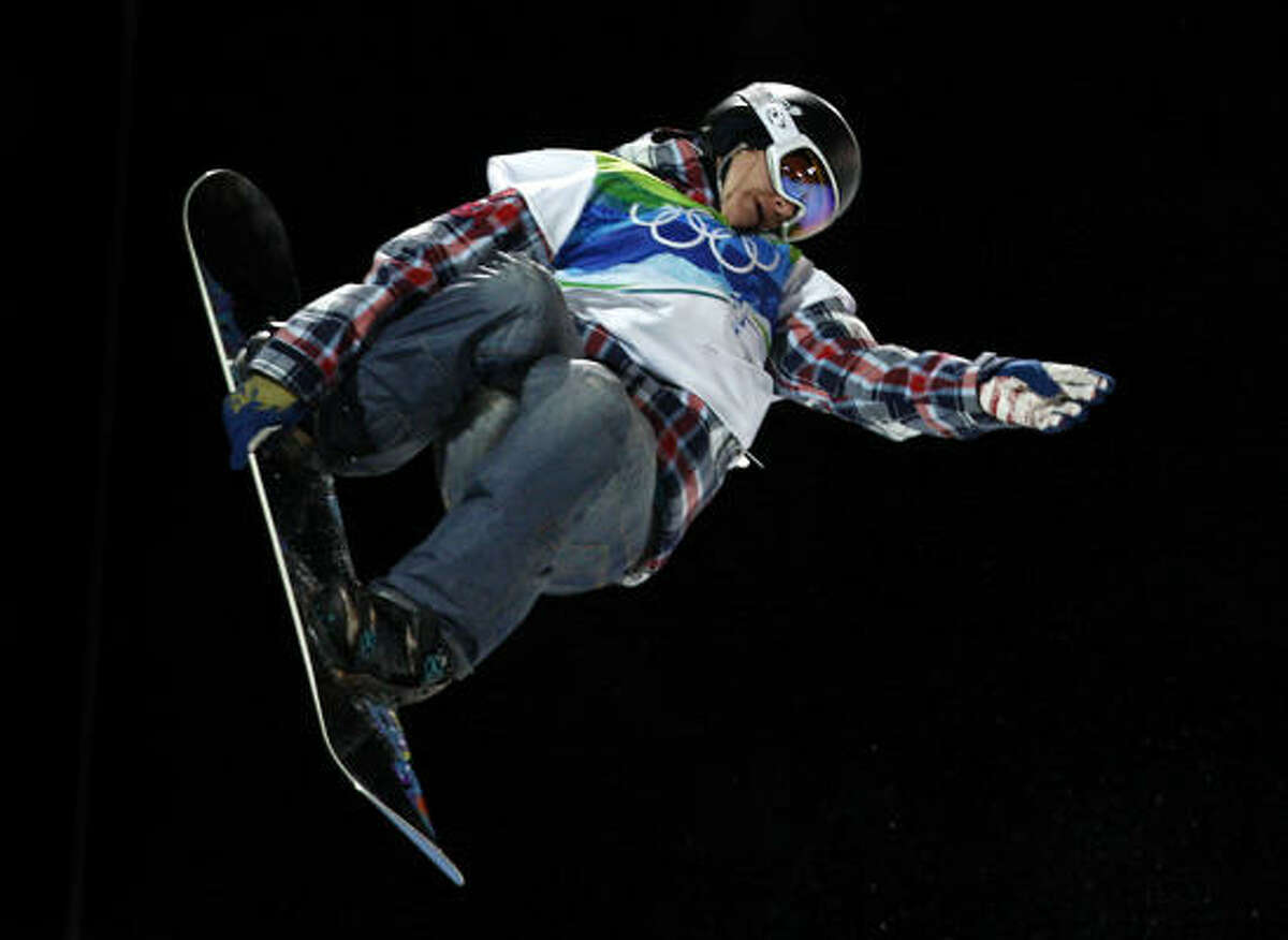 Kelly Clark of the United States flies through the air on her bronze medal run.