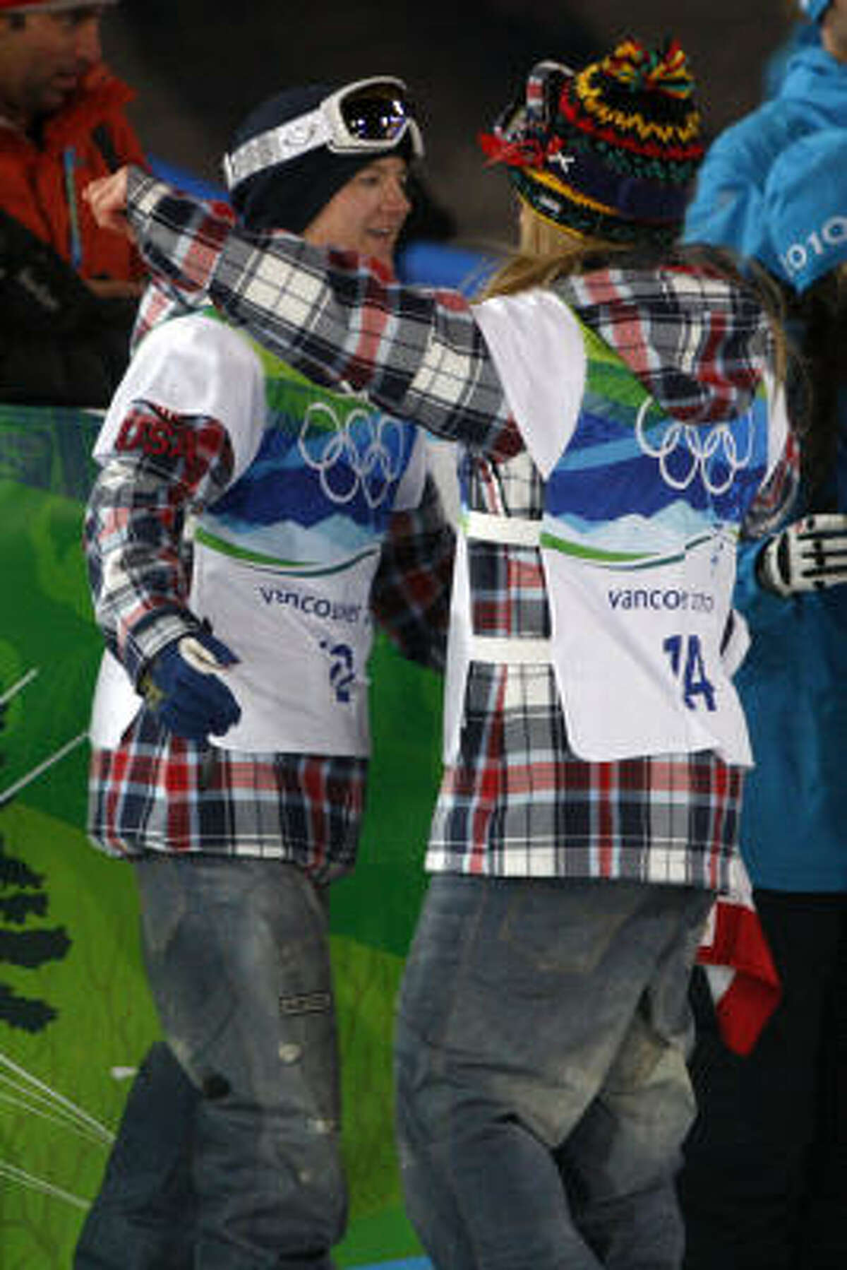 United States teammates Kelly Clark (left) and Hannah Teter congratulate one another after the competition.