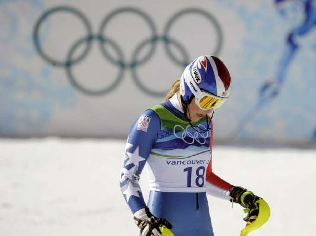 Lindsey Vonn reacts in the finish area after her crash.