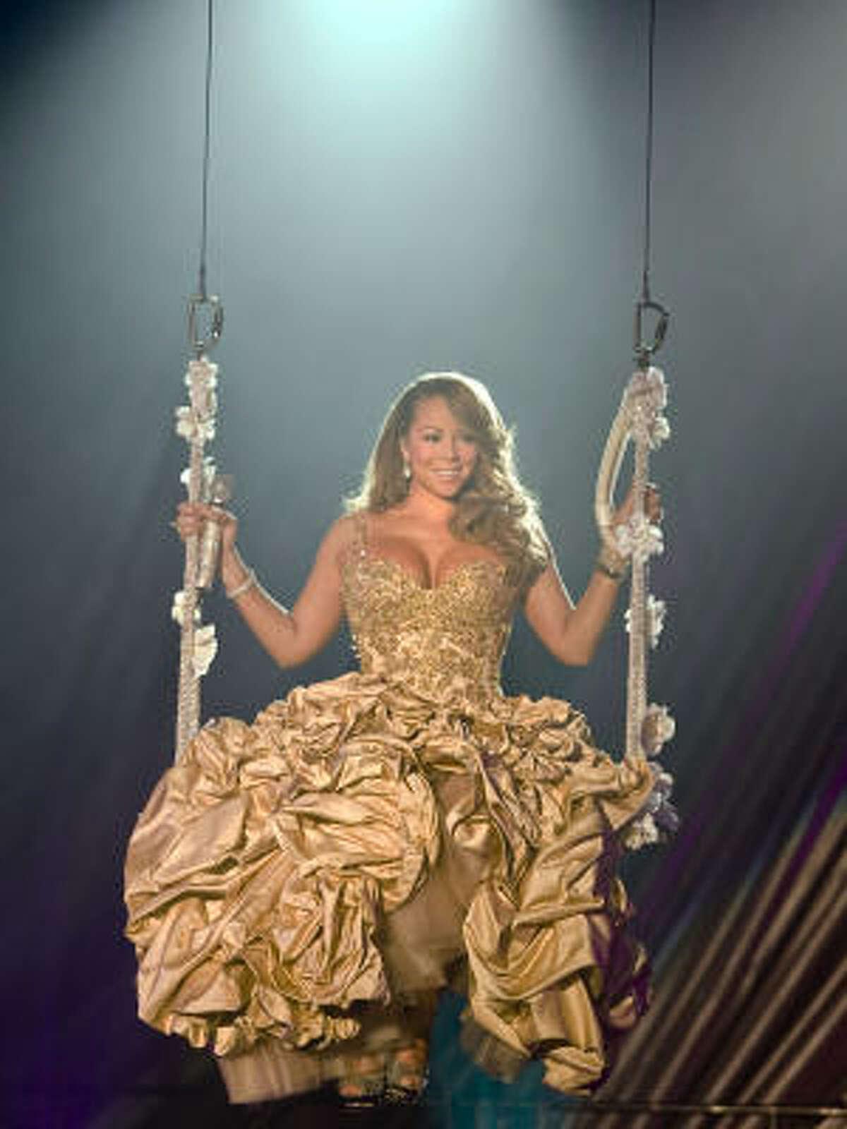Mariah Carey flies high during Wednesday's concert.
