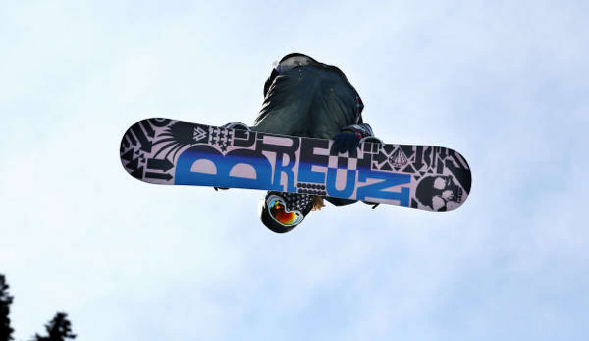 Shaun White of the United States competes in the first heat of the men's snowboard halfpipe on Feb. 17.