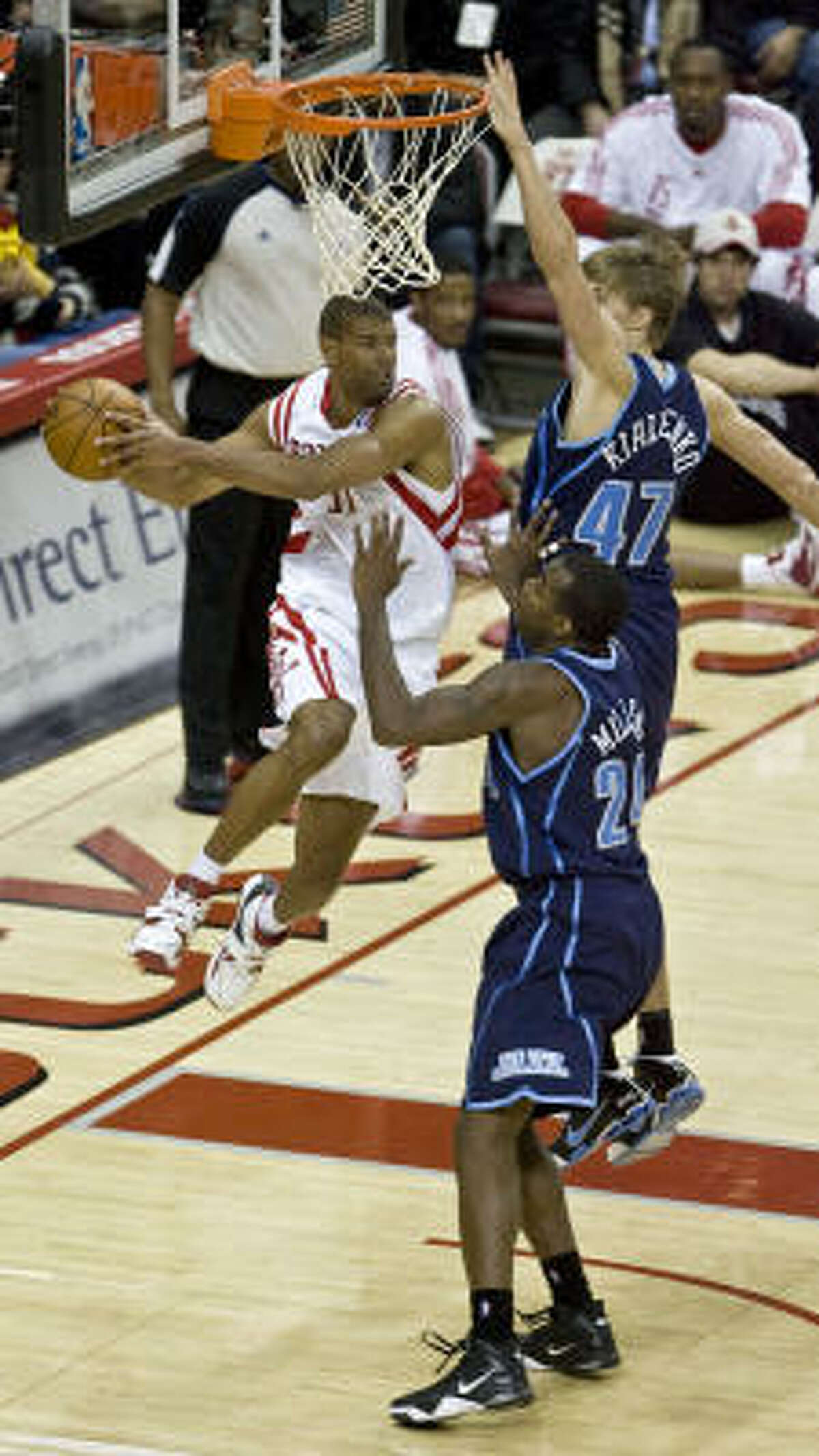 Rockets forward Shane Battier struggled against the Jazz, missing 9 of his 10 shots and finishing with three points.