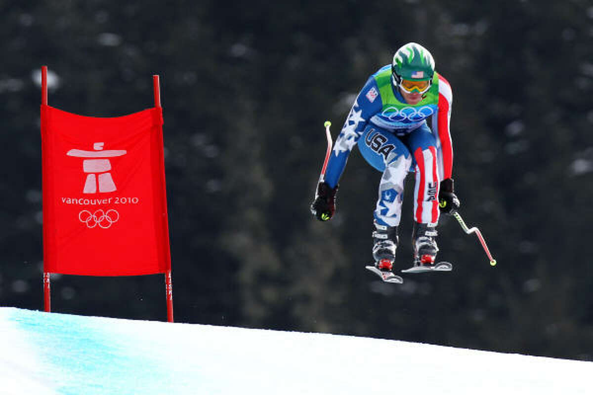 Bode Miller of the United States competes in the men's downhill at Whistler Creekside.