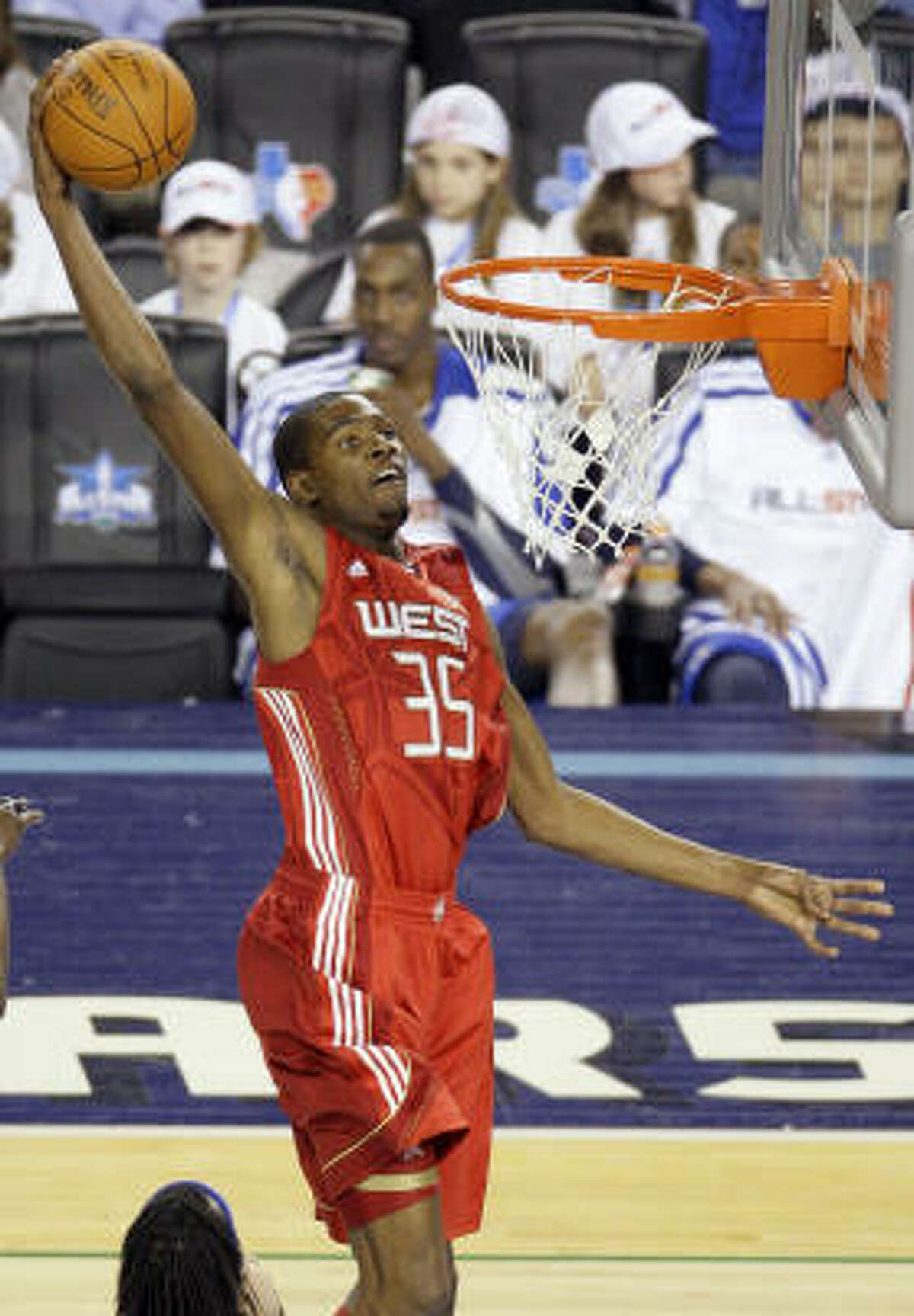 West All-Star Kevin Durant of the Oklahoma City Thunder goes up for a dunk during the second quarter.