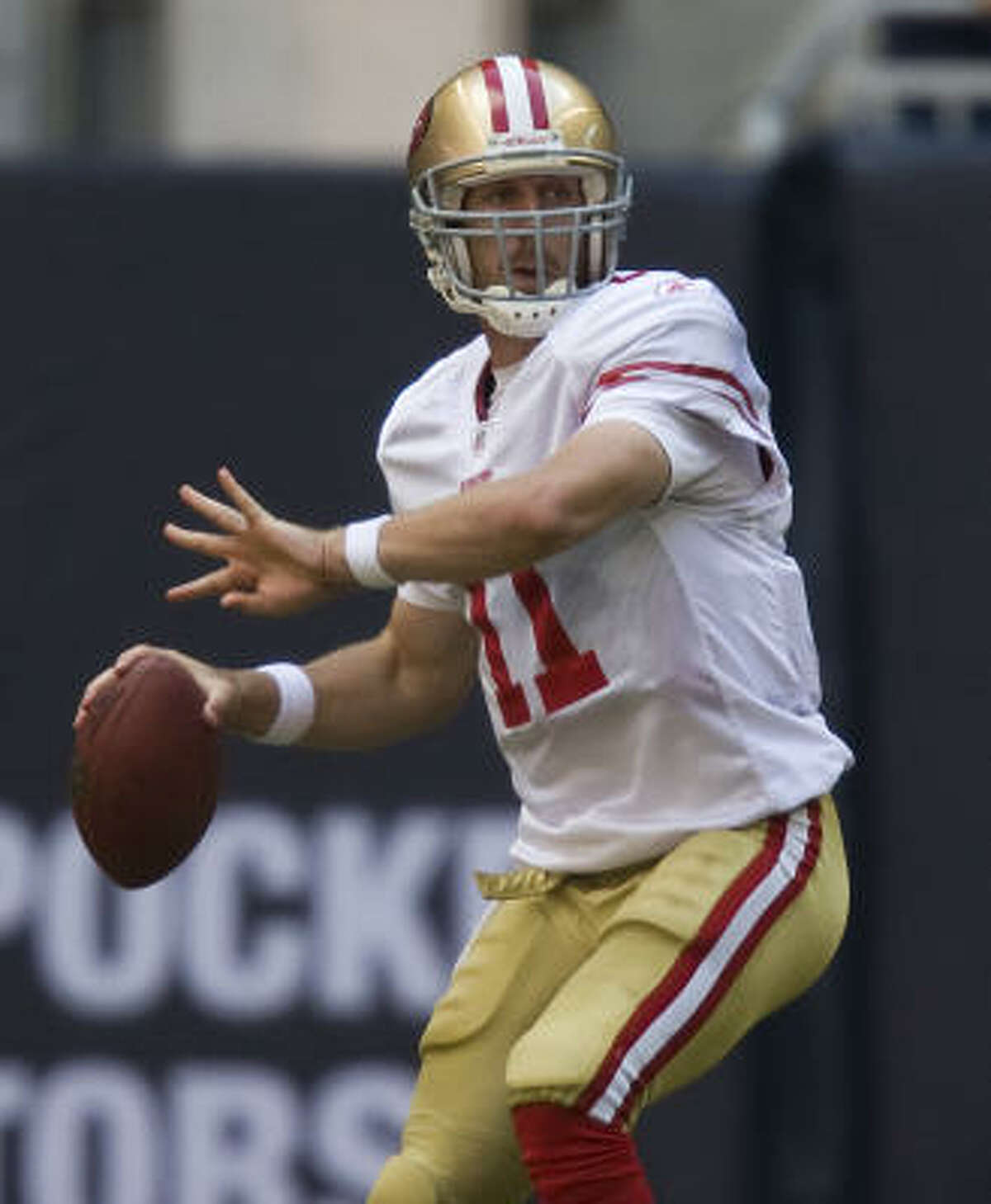 San Francisco 49ers Needs: Upgrading return game; San Francisco was last in average punt return yardage as Niners missed playoffs for seventh straight year. Kurt Schottenheimer was hired as special teams coordinator. Finding out if Alex Smith (top photo) is right QB. Strengths: RB with workhorse Frank Gore; inside LB with All-Pro Patrick Willis; possibly receiver if Michael Crabtree develops quickly.
